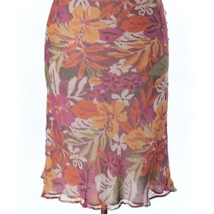 Avenue Abstract Floral Pattern Skirt EUC